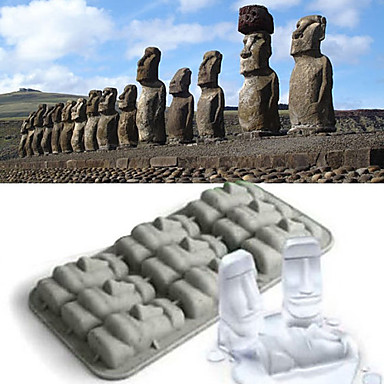 molho de gelo Moai gelado de gelo cubo de gelo de molho de gelatina de pudim de bandeja (cor aleatória)