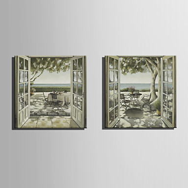 Handgemalte Landschaft Quadratisch, Europäischer Stil Segeltuch Hang-Ölgemälde Haus Dekoration Ein Panel
