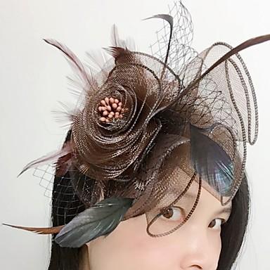 Feather net fascinators headpiece elegante estilo feminino clássico