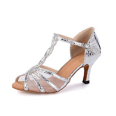0c65c67bf Mujer Zapatos de Baile Latino   Zapatos de Salsa Sintéticos Sandalia  Hebilla   Estampado Animal   Poroso Tacón Carrete Personalizables Zapatos  de baile ...
