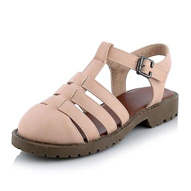 클로그 & 뮬-캐쥬얼 / 드레스-여성의 신발-닫힌 앞코 / 슬링백-레더렛-낮은 굽-블랙 / 핑크 / 화이트