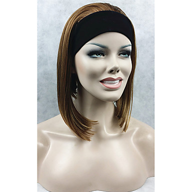 Natural Short Straight 3/4 Wig Brown with Highlights Headband Wig Ombre hair Wig For Women