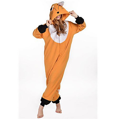 b459bc087feb Adults  Kigurumi Pajamas Fox Onesie Pajamas Polar Fleece Orange Cosplay For  Men and Women Animal