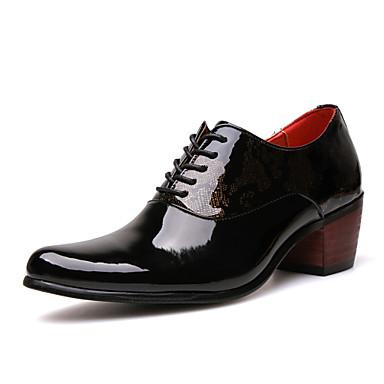Homens sapatos Couro Primavera / Verão / Outono Curta / Ankle Oxfords Caminhada Preto / Azul Escuro / Casamento / Festas & Noite