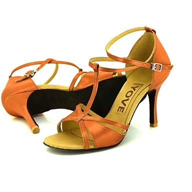 Damen Latin Salsa Seide Leder Sandalen Absätze Professionell Schnalle Band-Bindung Maßgefertigter Absatz Maßfertigung