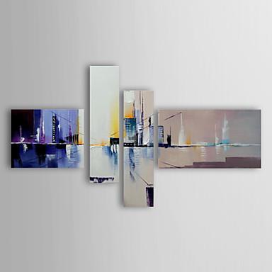 Maalattu Abstrakti / Abstraktit maisemakuvatModerni 3 paneeli Kanvas Hang-Painted öljymaalaus For Kodinsisustus