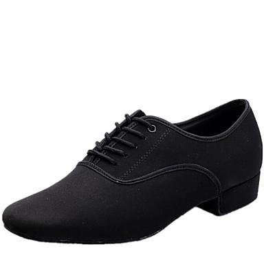 baratos Shall We® Sapatos de Dança-Homens Lona Sapatos de Dança Moderna Cadarço Salto Salto Baixo Não Personalizável Preto / Interior / EU43