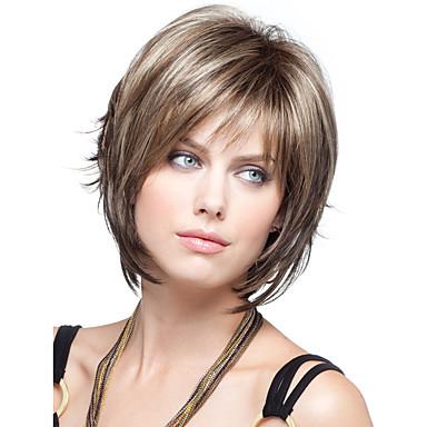 Synthetische Perücken Glatt Synthetische Haare Perücke Damen Kurz Kappenlos Braun StrongBeauty