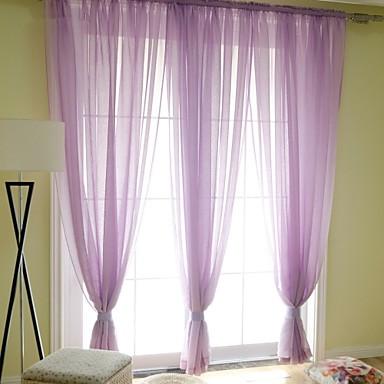 2 paneeli Window Hoito Moderni , Yhtenäinen Makuuhuone Pellava/polyesteriseos materiaali Läpinäkyvät verhot Shades Kodinsisustus For