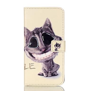 Para Porta-Cartão Carteira Com Suporte Flip Estampada Capinha Corpo Inteiro Capinha Gato Rígida Couro PU para AppleiPhone 7 Plus iPhone 7