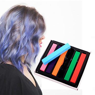 6 cores pastéis de giz temporários para o cabelo não-tóxico pastéis de coloração capilar furar ferramentas de estilo DIY