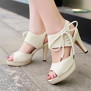 נשים נעליים דמוי עור אביב קיץ סתיו עקב עבה פלטפורמה שרוכים ל קזו'אל שמלה שחור בז' ורוד