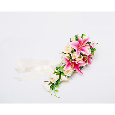 Bouquets de Noiva Cascata Rosas Lírios Buquês Casamento Festa / noite Cetim 19.7