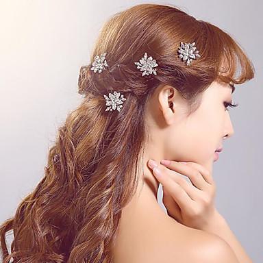 Almofada de cabelo de liga de diamante de strass estilo feminino clássico