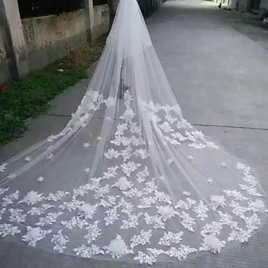 Hochzeitsschleier Zweischichtig Kathedralen Schleier Spitzen-Saum Rand mit Perlen Tüll Spitzen Eifenbein