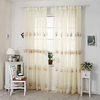 Purjerengas Kynälaskostettu 2 paneeli Window Hoito Kantri Moderni Eurooppalainen Living Room Polyester/puuvillaseos materiaali