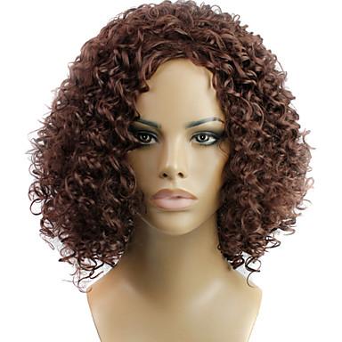Synteettiset hiukset Peruukit Kihara Suojuksettomat Keskikokoinen Ruskea