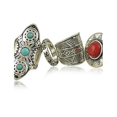 סגסוגת נשים טבעת סגסוגת טורקיז 4pieces בסגנון נשי קלאסי