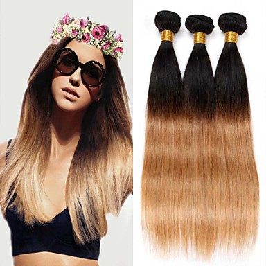שיער אנושי שיער ברזיאלי טווה שיער אדם ישר תוספות שיער 3 חלקים # T1B -27