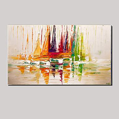Hang malte oljemaleri Håndmalte - Abstrakt / Landskap / Still Life Moderne Lerret / Stretched Canvas