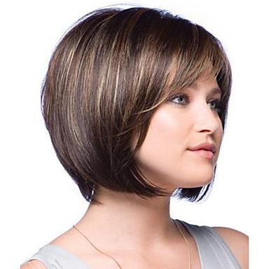 Γυναικείο Συνθετικές Περούκες Χωρίς κάλυμμα Κοντό Ίσια Φυσική περούκα φορεσιά περούκες