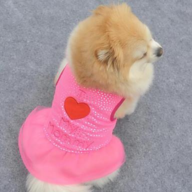 개 드레스 퍼플 / 핑크 강아지 의류 여름 / 모든계절/가을 자수 장식 패션