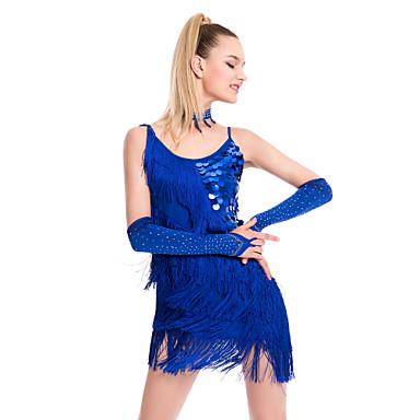 152f2160a5 Latin tánc Ruhák Női Teljesítmény Flitteres / Mlječna vlakna Rojt Ujjatlan  Természetes Ruha