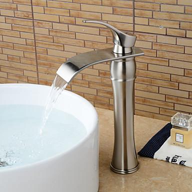 Torneira pia do banheiro - Cascata Níquel Escovado Pia Monocomando e Uma Abertura