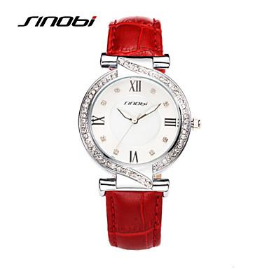 SINOBI 아가씨들 패션 시계 캐쥬얼 시계 방수 모조 다이아몬드 석영 가죽 밴드 레드