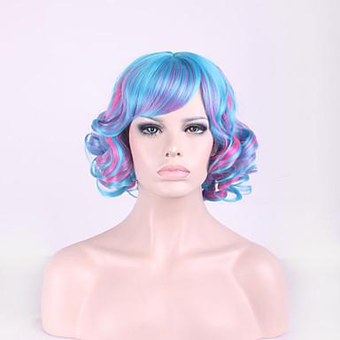 Harajuku lolita blandet farge håret cosplay blå gradient rosa parykk