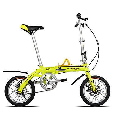 dequilon K8 14 inch mini sklopivi bicikl dvostruke disk kočnice bicikla ultraportability jednu brzinu žuta