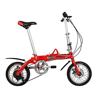 מתקפל אופניים רכיבת אופניים 6 מהירויות 14 אינץ' דיסק בלימה כפול רגיל קיפול סגסוגת אלומיניום