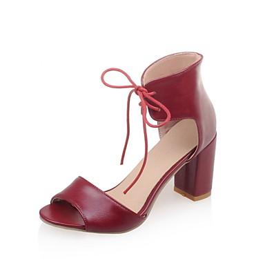 Sandaalit-Leveä korko-Naisten kengät-Tekonahka-Musta / Beesi / Burgundy-Puku-Korot / Avokärkiset