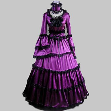 Wiktoriańskie Rococo Kostüm Kadın's Elbiseler Maskeli Balo Parti Kostümleri Mor Eski Tip Cosplay Saten Uzun Kollu Şair Uzun (L)