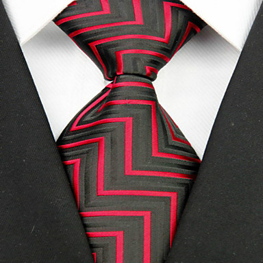 Krawatte(Schwarz / Rot,Polyester)Gestreift