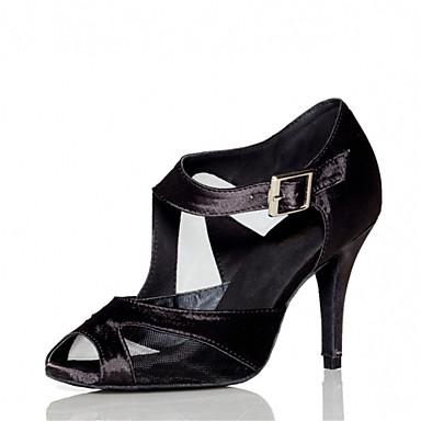 Mulheres Sapatos de Dança Latina / Sapatos de Salsa Cetim Sandália / Salto Presilha Salto Personalizado Personalizável Sapatos de Dança