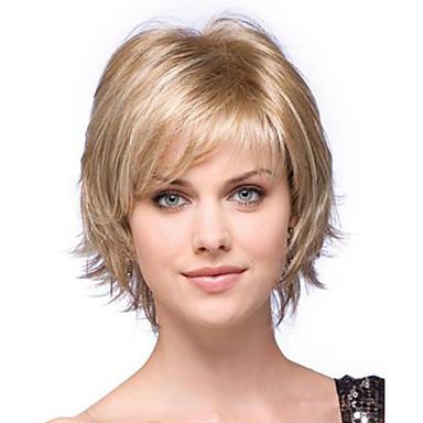 Synthetische Perücken Natürlich gewellt Blond Bubikopf / Mit Pony Synthetische Haare Seitenteil Blond Perücke Damen Kurz Kappenlos Blondine