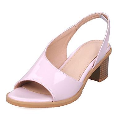 Naisten Kengät Tekonahka Kesä Paksu korko Hopea / Keltainen / Pinkki / Block Heel-sandaalit