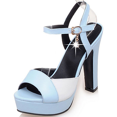 샌달-드레스 / 파티/이브닝-여성의 신발-힐 / 플랫폼 / 슬링백 / 열린 앞코-레더렛-청키 굽-그린 / 핑크 / 베이지