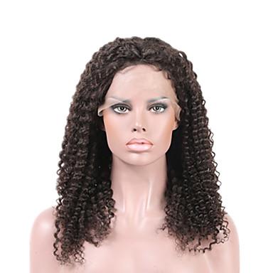 Ekte hår Helblonde Blonde Forside Parykk Bølget 130% tetthet 100 % håndknyttet Afroamerikansk parykk Naturlig hårlinje Kort Medium Lang