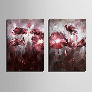 Maalattu Kukkakuvio/KasvitiedeEuropean Style 1 paneeli Kanvas Hang-Painted öljymaalaus For Kodinsisustus
