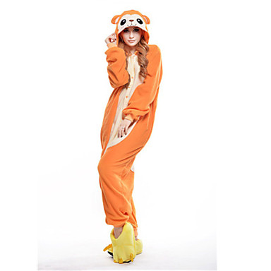 Erwachsene Kigurumi-Pyjamas Affe Pyjamas-Einteiler Polar-Fleece Orange Cosplay Für Herren und Damen Tiernachtwäsche Karikatur Fest / Feiertage Kostüme