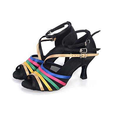 baratos Sapatos de Salsa-Mulheres Cetim Sapatos de Dança Latina / Sapatos de Salsa Presilha / Vazados Sandália / Salto / Têni Salto Carretel Personalizável Preto / Dourado / Espetáculo / Couro / EU38