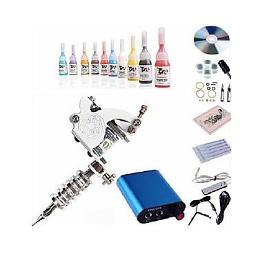 beggineer tatuagem kit kl101 1 máquina com tinta apertos de alimentação 5ml