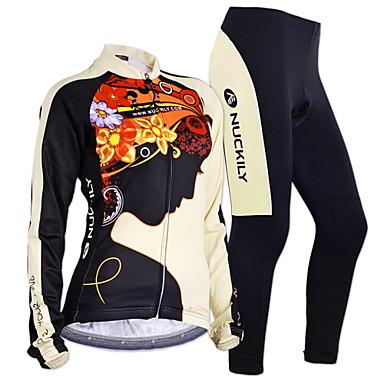 Nuckily Pyöräily jersey ja trikoot Naisten Miesten Pitkä hiha Pyörä Hihat VaatesetitPidä lämpimänä Tuulenkestävä Anatominen tyyli