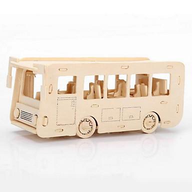 voordelige 3D-puzzels-Legpuzzels 3D-puzzels Houten puzzels Bouw blokken DHZ-speelgoed Bus Hout Goud Modelbouw & constructiespeelgoed