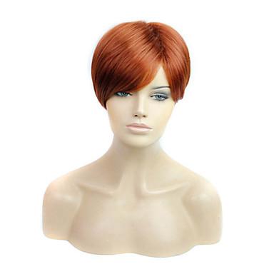 짧은 길이의 스트레이트 헤어 유럽 직조 갈색 머리 합성 가발