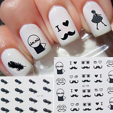 3D Nail Stickers-Muuta-Sarjakuva / Kukka / Lovely-Sormi / Varvas-6.2*5.2*0.1-1Pc