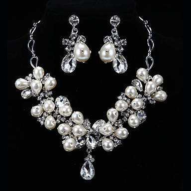 סט תכשיטים לנשים יום שנה / חתונה / ארוסים / יום הולדת / מתנה / יומי / אירוע מיוחד סטי תכשיטים סגסוגת קריסטל / דמוי פנינה שרשראות / עגילים