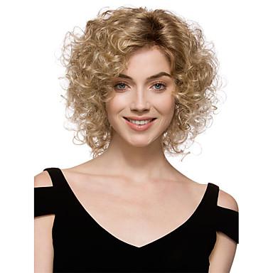 Synthetische Perücken Locken Synthetische Haare Perücke Damen Kurz Kappenlos Blondine StrongBeauty